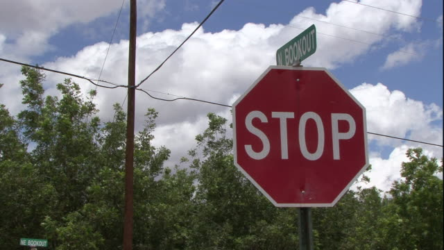puffy clouds float in the sky over treetops and a stop sign. - stop sign stock videos & royalty-free footage