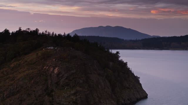 puget sound at twilight - aerial - puget sound stock videos & royalty-free footage