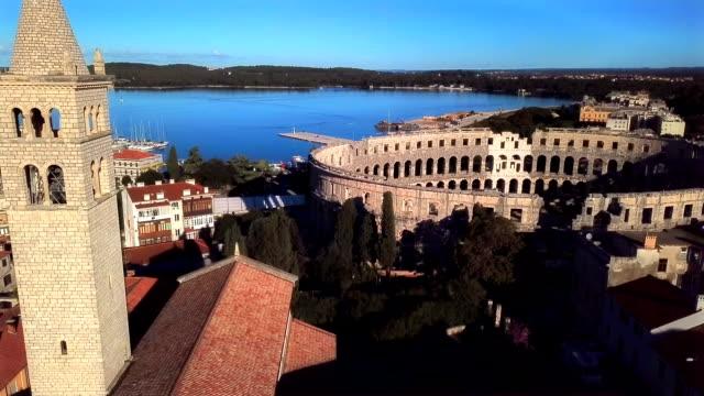 vídeos y material grabado en eventos de stock de estadio de pula croacia - anfiteatro