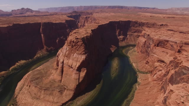 pull back LONG Horseshoe bend Drone aerial 4K