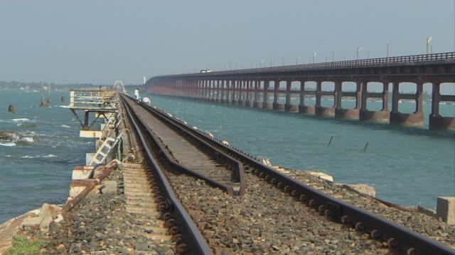Pull back pamban bridge rameshwaram tamil nadu