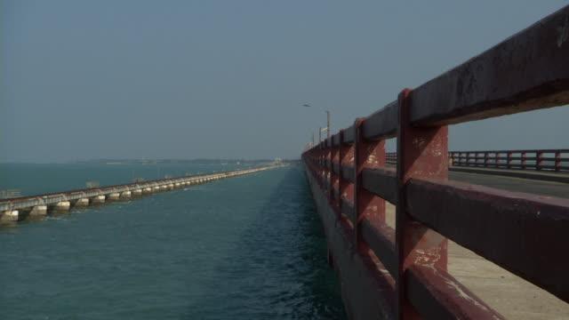 pull back pamban bridge rameshwaram tamil nadu - island stock videos & royalty-free footage