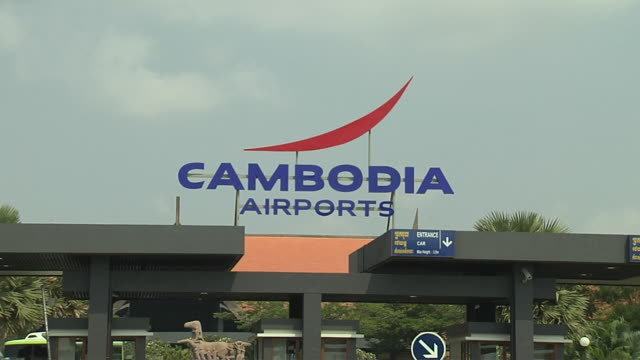 pull back shot airport complex siem reap cambodia - western script stock videos & royalty-free footage