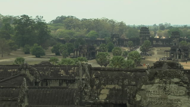 Pull Back Shot Angkor Wat Architecture Siem Reap Cambodia