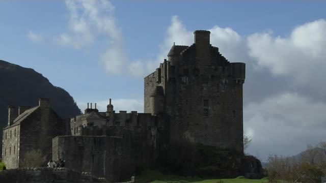 Pull Back Shot Eilean Donan Castle Scotland United Kingdom