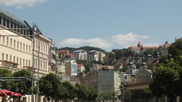 Pull Back Shot Karlovy Vary City Western Bohemia Czech Republic