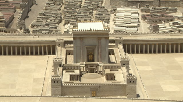 vídeos de stock, filmes e b-roll de pull back shot model of old jerusalem jerusalem israel  - jerusalém