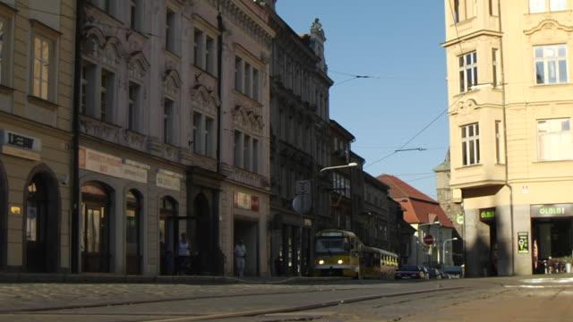 pull back shot pilsen city tram pilsen west bohemia czech republic - czech republic stock videos and b-roll footage