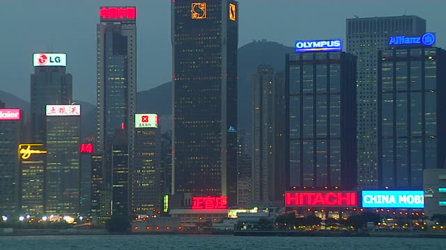 pull back shot skyline aberdeen harbour hong kong kwangtung china - aberdeen hong kong stock videos & royalty-free footage