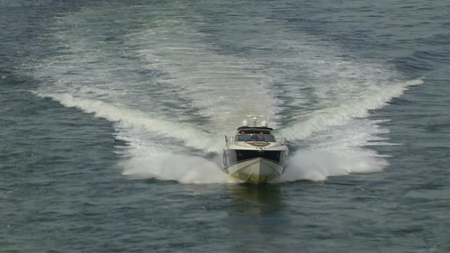 pull back shot speed boat oslo norway - speed boat stock videos & royalty-free footage