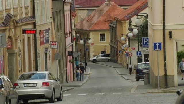 Pull back shot street Kutna hora Czech Republic
