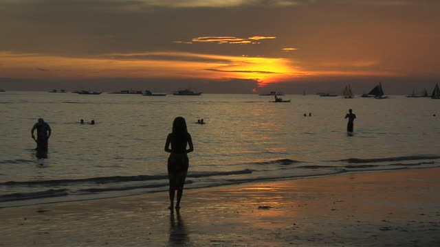 Pull Back Shot Sunset at Sea Boracay Aklan Philippines
