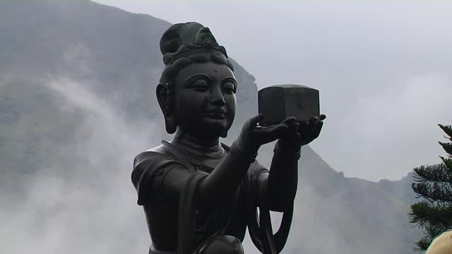 pull back shot tian tan buddha hong kong kwangtung china - tian tan buddha stock videos and b-roll footage