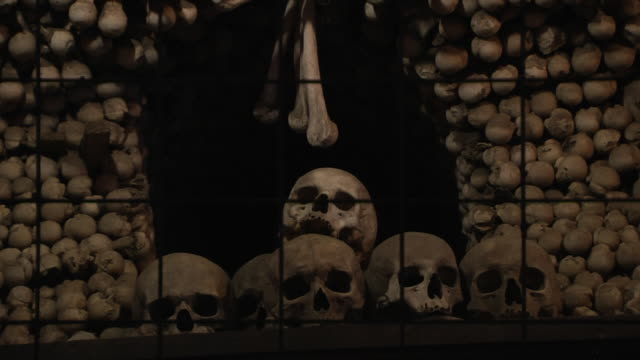 Pull back skull Bone church Kutna hora Czech Republic