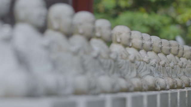 Pull focus along line of statues of Buddha at Mount Takao, Japan.