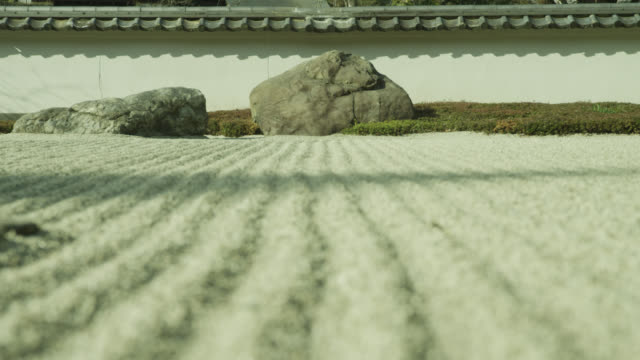 Pull focus from rock to ridges of raked gravel in zen garden at Gyokudo art museum.