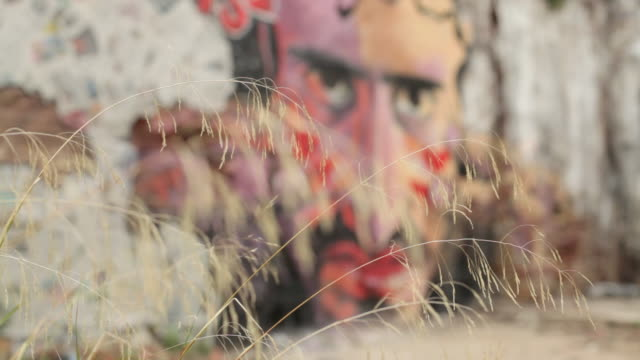 vídeos de stock e filmes b-roll de pull focus on a wall decorated with colourful street art in the city of barcelona. - rebeldia