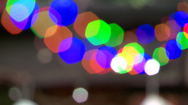 pull focus on christmas lights - fairy lights stock videos & royalty-free footage