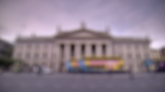 Pull focus onto a treated, clean view of Dublin's General Post Office, Ireland.