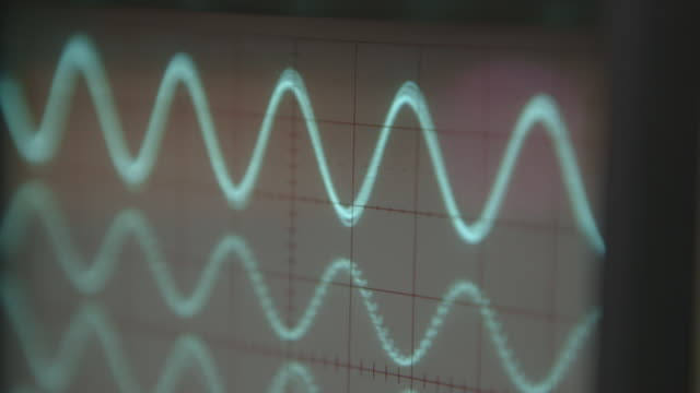 cu pull focus onto oscilloscope waves - surveillance stock videos & royalty-free footage