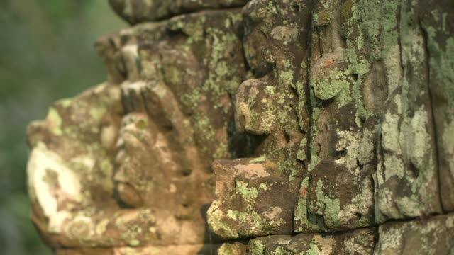 Pull focus shot on a stone carving of a creature decorating the exterior of the Bayon temple at Angkor.