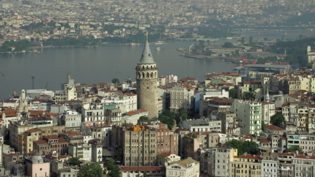 Pull Out From Galata Tower In Istanbul