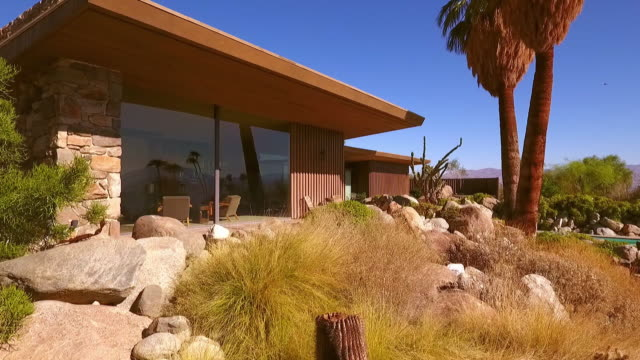 ts pull-back from mid-century modern luxury home on rocky hillside with palm tree and swimming pool - palm springs california pool stock videos & royalty-free footage