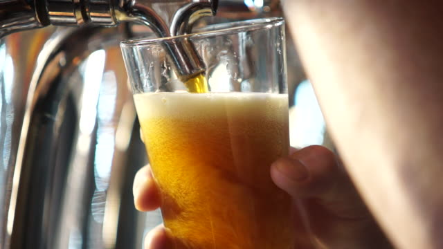 pulling a glass of draft beer at a microbrewery - 醸造所点の映像素材/bロール