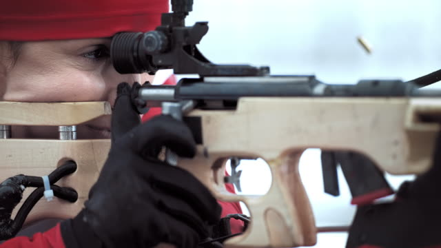 slo mo pulling the trigger on the biathlon rifle - biathlon stock videos and b-roll footage