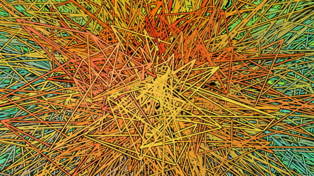 Pulsating abstract multicoloured line looping background