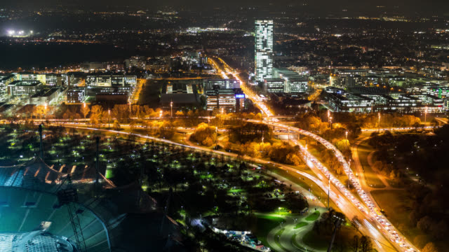 pulsating Munich seen from above during night and rush hour - time lapse - shot-1