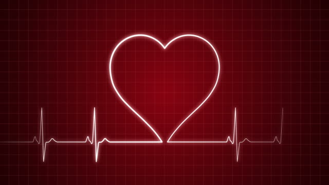 ekg pulse trace with heart shape | loopable - pulse trace stock videos & royalty-free footage