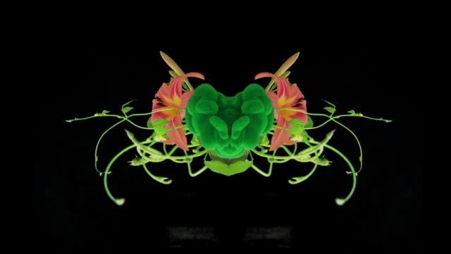 pulsing green heart with plants and flowers