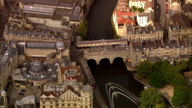 aerial, pulteney bridge, bath, sommerset, england - bath stock videos & royalty-free footage