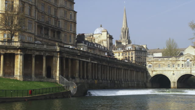 ws pulteney bridge designed by robert adam on river avon, bath, united kingdom - somerset england stock videos & royalty-free footage