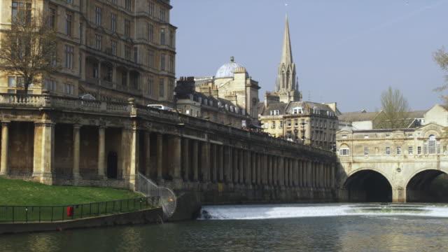 ws pulteney bridge designed by robert adam on river avon, bath, united kingdom - bath stock videos & royalty-free footage