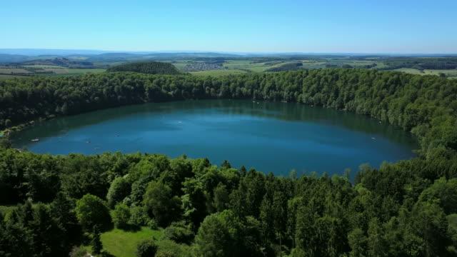 Pulvermaar near Gillenfeld, Vulkaneifel, Eifel, Rhineland-Palatinate, Germany