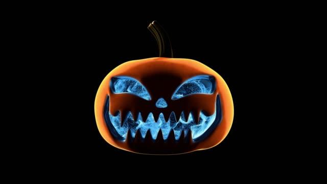 pumpkin blue particles loop - zucca legenaria video stock e b–roll