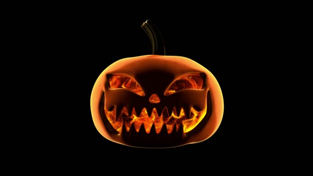 pumpkin flame particles loop - zucca legenaria video stock e b–roll