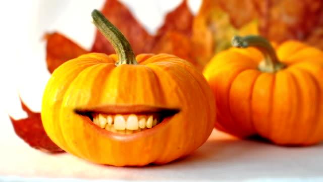 pumpkin mouth - halloween - pumpkin stock videos & royalty-free footage
