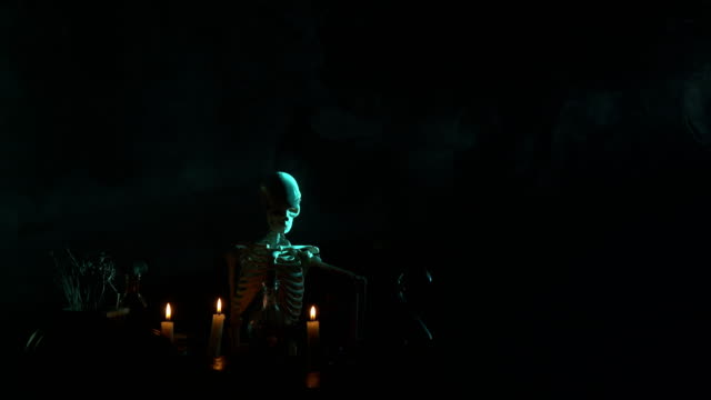 Pumpkin, Poison Bottle, Dead Insects, Candles, Human Skeleton and Magic Book For Halloween