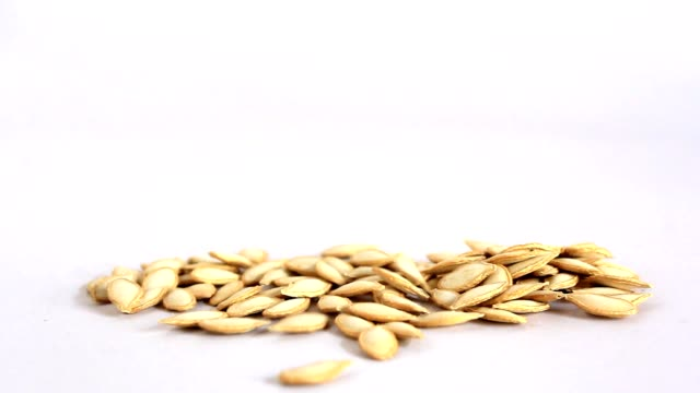 vídeos de stock e filmes b-roll de pumpkin seeds - cor isolada