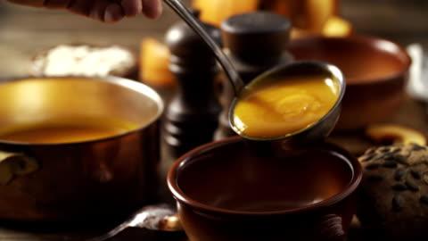 pumpkin soup - soup stock videos & royalty-free footage