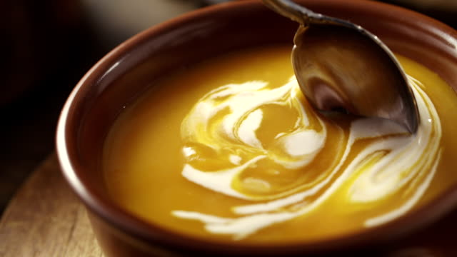 pumpkin soup - soup stock videos & royalty-free footage