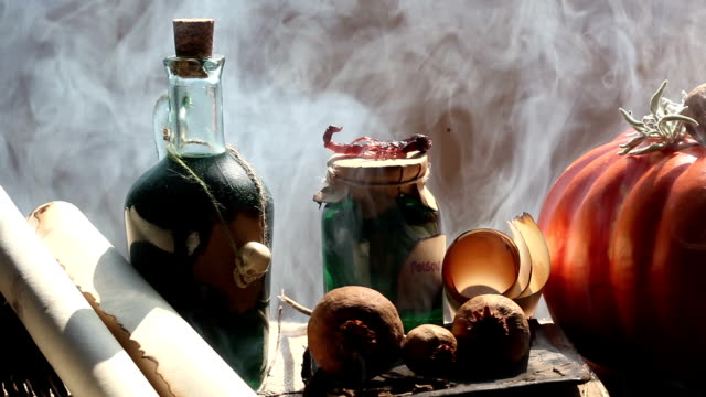 Pumpkin,Poison Bottle,Dead Insects, Magic Book, Scrolls For Halloween