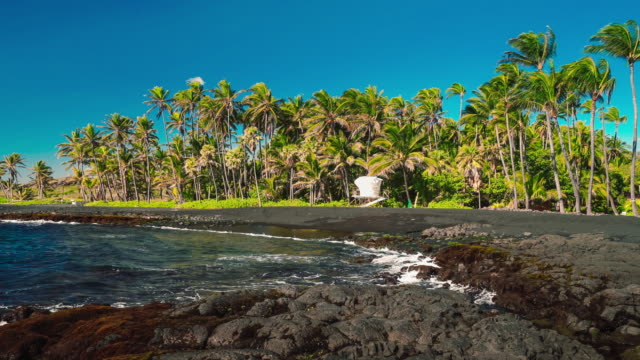 punalu'u beach lifeguard station - big island hawaii islands stock videos & royalty-free footage