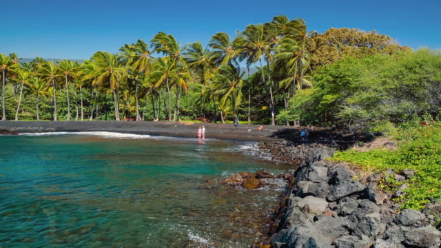 punalu'u beach visitors - big island hawaii islands stock videos & royalty-free footage