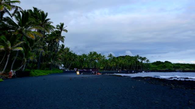 punaluu black sand beach, big island. - black sand stock videos & royalty-free footage