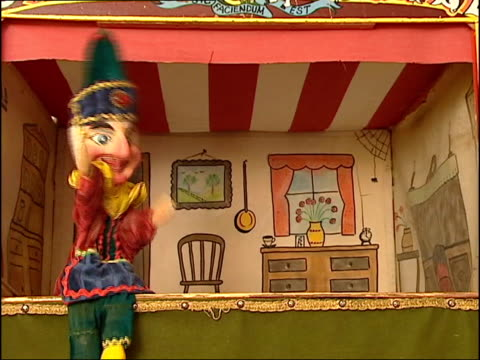 punch and judy man john styles: equipment stolen; lib int styles performing with punch & judy puppets - puppet stock videos & royalty-free footage
