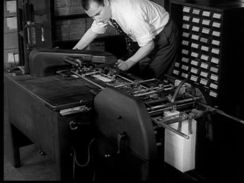 1954 b/w montage ha cu pan punch cards going through machine / ms man working on machine / cu pan machines processing social security checks  / usa - punch card stock videos & royalty-free footage